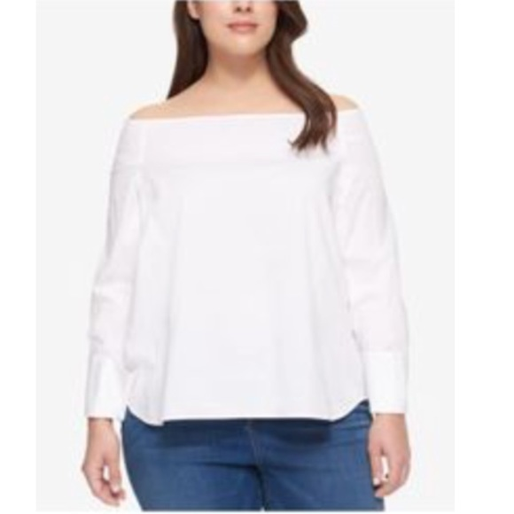 c7ad5ef288b4da Tommy Hilfiger Plus white off shoulder top